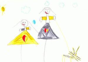 rajzon boldog anya és lánya szerepel