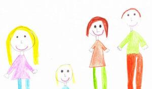A rajzon négy tagű boldog család látható