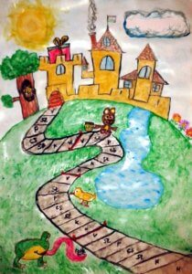 Jutalomvár. Színes rajz. Egy dombon lévő vár, hozzá vezető úttal