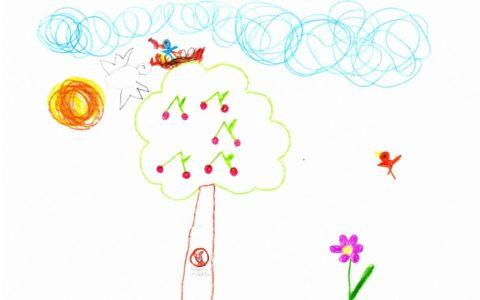 rajz, madárfészek a fa tetején