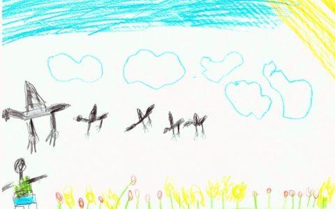 repülő madara rajz, alattuk kitárt karú ember