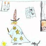 színes rajz, középen varázsló, mögötte cica, alőtte egér és korona a földön, gyertyacsillár és kandalló