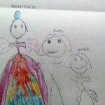 A rajzon Bernadett Anna és anya